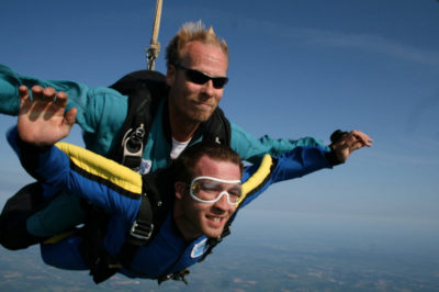 Charlie Rogers with a tandem student at Wisconsin Skydiving Center