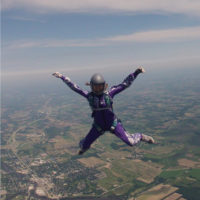 Alex Kolacio in free fall as she solo skydives at Wisconsin Skydiving Center near Milwaukee, WI