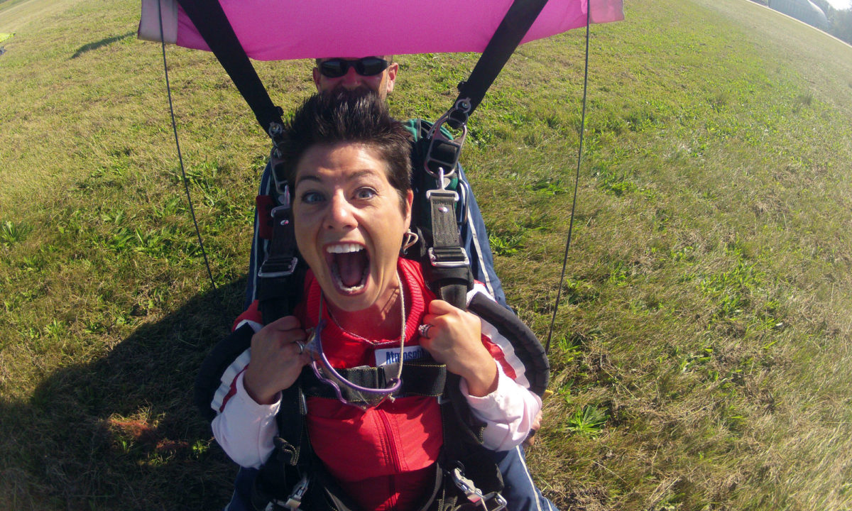 Adrenaline is pumping after a tandem skydive at Wisconsin Skydiving Center near Milwaukee, WI