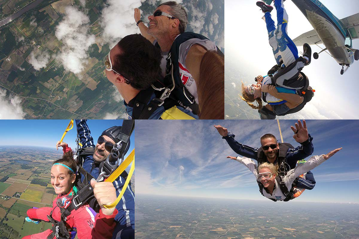 Four images of tandem skydivers free falling and enjoying their first skydive at Wisconsin Skydiving Center near Madison, WI