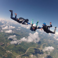 Accelerated Free Fall (AFF) training to get a skydiving license at Wisconsin Skydiving Center near Milwaukee, WI