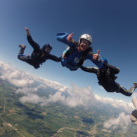 Accelerated Free Fall (AFF) training to get a skydiving license at Wisconsin Skydiving Center near Madison, WI