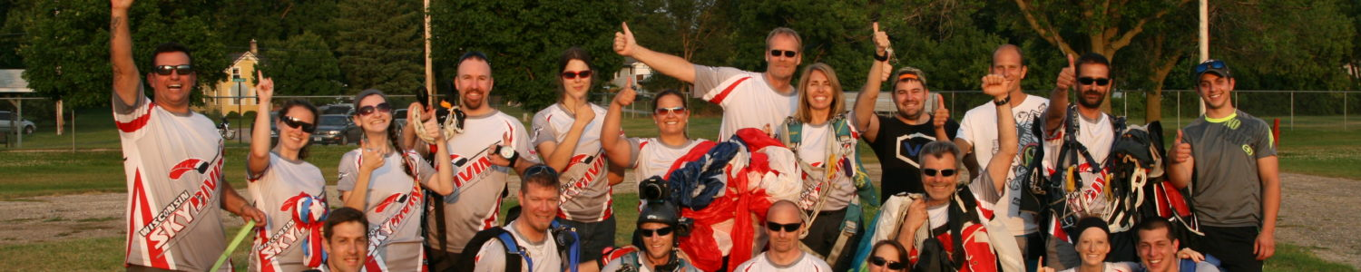 The best skydiving in the Midwest – A group shot of the staff at Wisconsin Skydiving Center near Milwaukee, WI