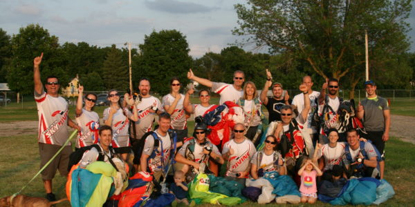 A group shot of the staff at Wisconsin Skydiving Center
