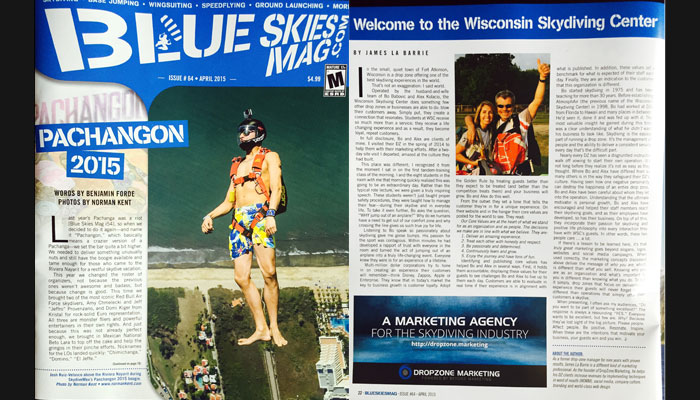 Blue Skies Magazine featuring Wisconsin Skydiving Center near Milwaukee
