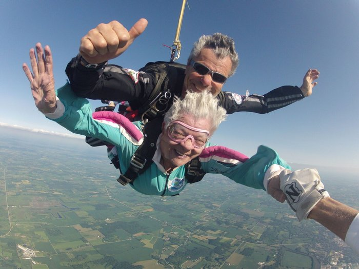 Not all older clients have skydiving health restrictions.