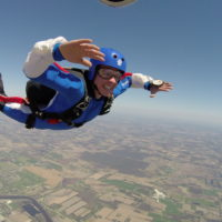 Solo skydiving while training to get a skydiving license at Wisconsin Skydiving Center near Madison, WI