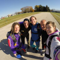 Group of skydiving instructors at Wisconsin Skydiving Center near Milwaukee, WI