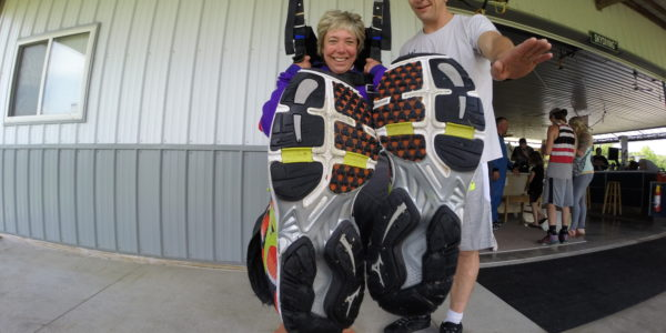The soles of skydiving shoes at Wisconsin Skydiving Center near Chicago