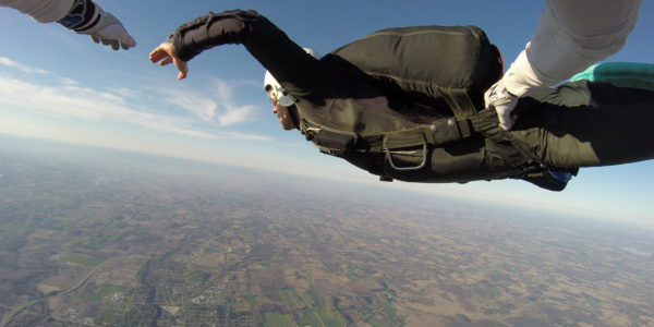 A man doing Accelerated Free Fall training at Wisconsin Skydiving Center near Madison, WI