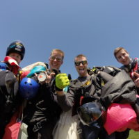 Skydiving instructors with their gear after a skydive at Wisconsin Skydiving Center near Madison, WI