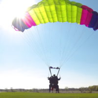 Slowing down and landing with a deployed parachute at Wisconsin Skydiving Center near Milwaukee
