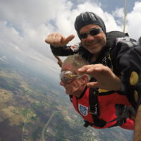 Bo Babovic facilitating a tandem skydive at Wisconsin Skydiving Center near Madison, WI