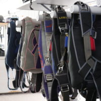 Skydiving equipment and gear at Wisconsin Skydiving Center near Milwaukee