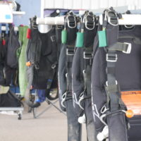 Skydiving gear at the dropzone of Wisconsin Skydiving Center near Milwaukee, WI