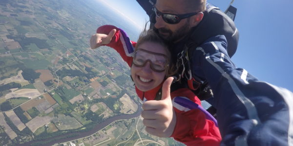 We provide goggles to protect your eyes from wind at Wisconsin Skydiving Center near Milwaukee and Madison