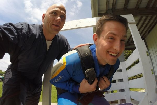 preparing for first skydive with WSC instructor