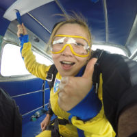 tandem student mentally prepares to jump at Wisconsin Skydiving Center near Chicago