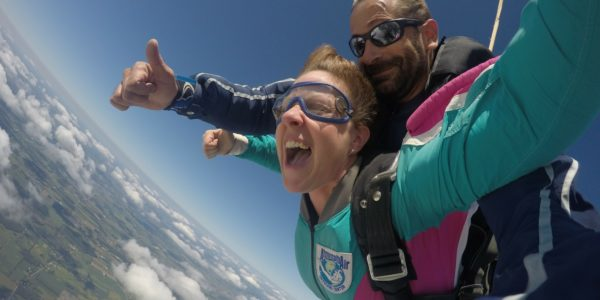 woman is fearless in skydiving freefall