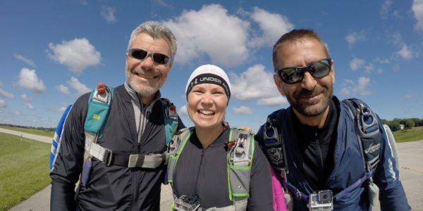 Trio of skydiving instructors at Wisconsin Skydiving Center near Madison, WI