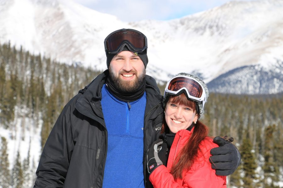 Brad and Kelsey pose together after snow skiing.