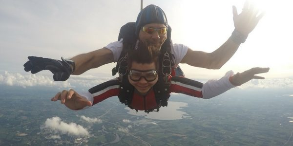 Owen Provenzano smiling in freefall