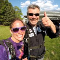 Bo gives a thumbs up before a safe skydive at Wisconsin Skydiving Center near Chicago