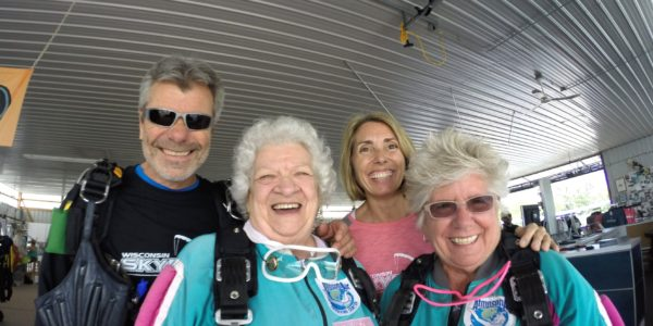 Bo poses with wife Alex and 83 year old skydiver, Anna Mae at Wisconsin Skydiving Center near Milwaukee, WI