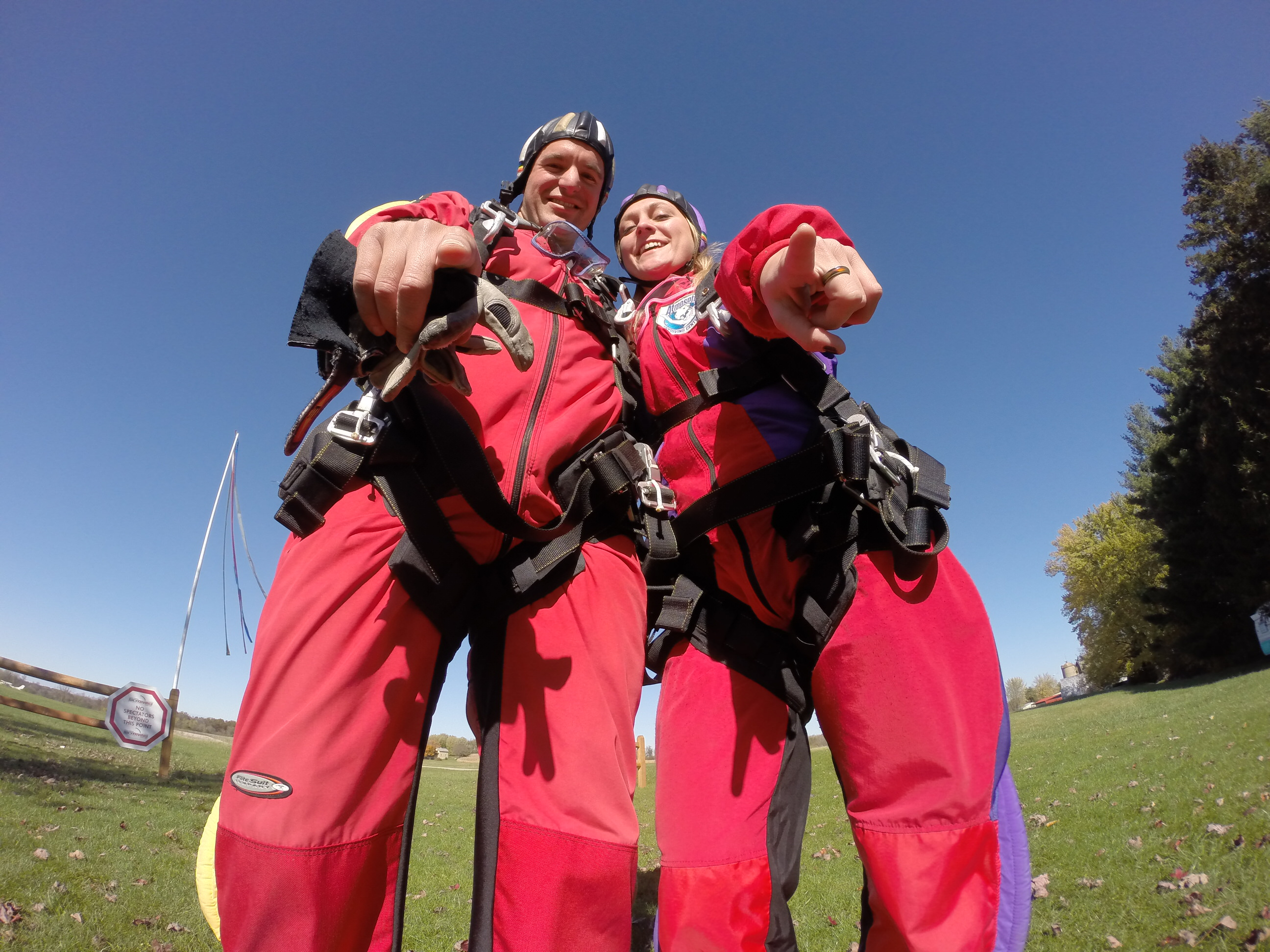 Couple preparing to safely risk skydiving at Wisconsin Skydiving Center near Chicago