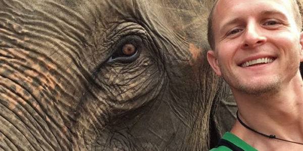 skydiving instructor luke pinion with elephant