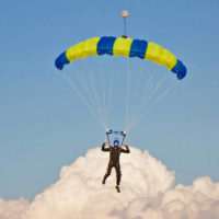 Skydiving instructor Luke Pinion flies under canopy