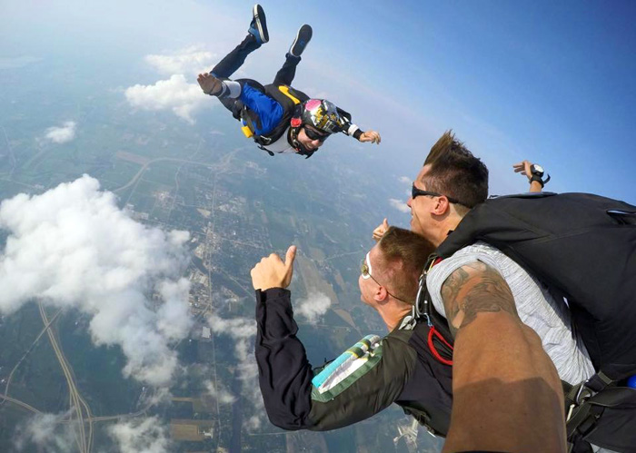 Skydiving Stories: Jake Lumsden on a tandem jump with a videographer.