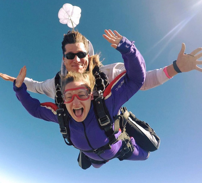 Skydiving stories: Lake Lumsden on a tandem skydive with a happy client.