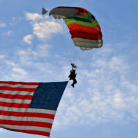 Skydiver with American Flag - WSC 20th anniversary