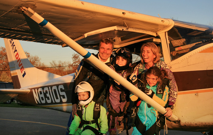 Alex, Bo and kids at the Wisconsin Skydiving Center