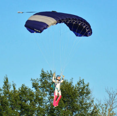Skydiving instructor Laura Duffy coming in for the landing