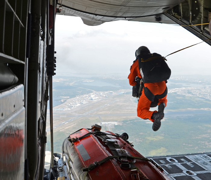 Search and rescue skydiver executing a static line skydive