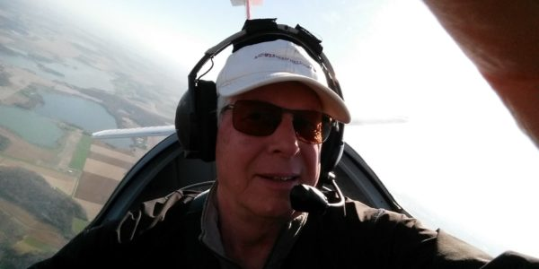 Mark takes a selfie while soaring in his glider.