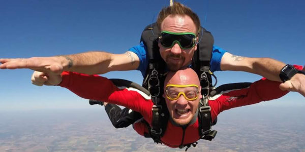 WSC skydiving instructor Joel Graves doing a tandem jump with a student