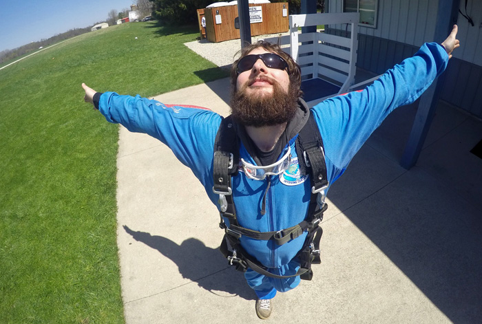 Solo skydiver basks in the afterglow of his jump