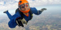 Solo skydiver during free fall