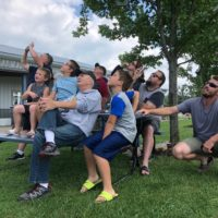 Spectators watching their family members skydive at Wisconsin Skydiving Center near Madison, WI