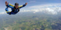Solo skydiver on a skydiving lesson.