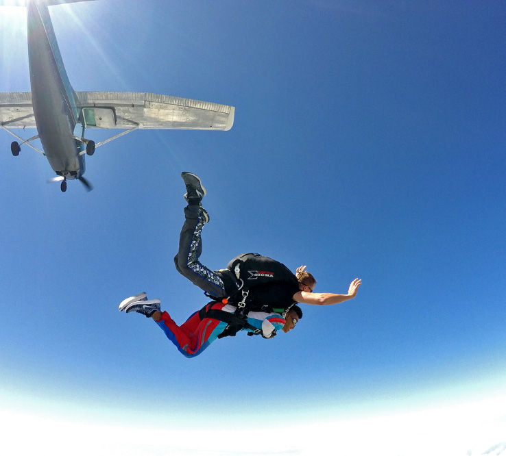 Can you skydive in the rain? Better not! Blue skies is where its at.