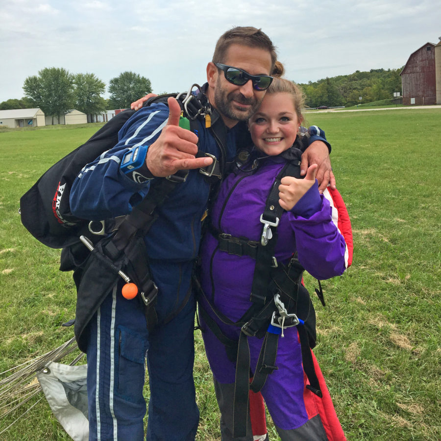 Skydiving Coach Sarah Dillman gives the thumbs up