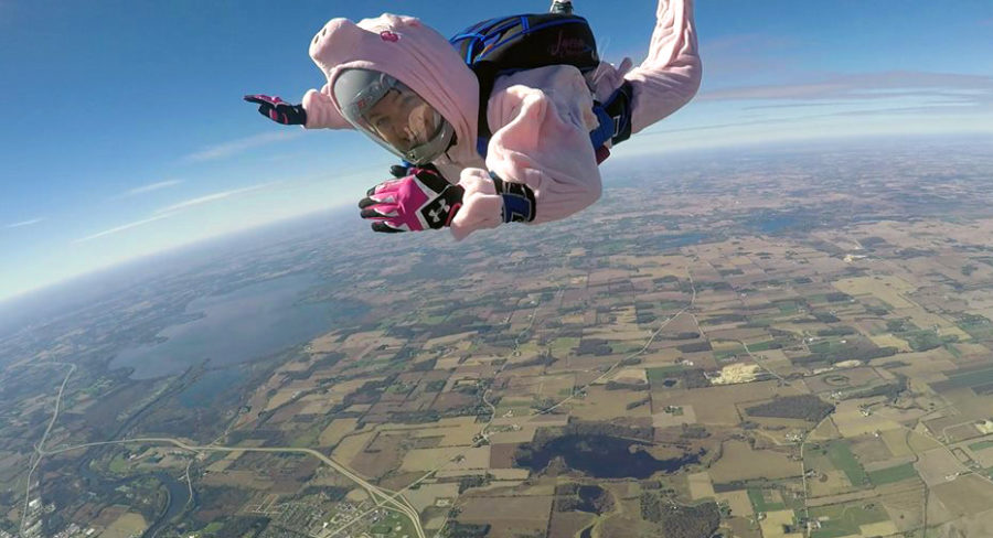 Skydiver Sarah Dillman in a pig costume