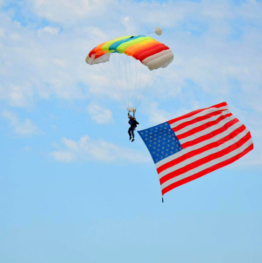 Skydiving Instructor Dan Schultz flies the American Flag