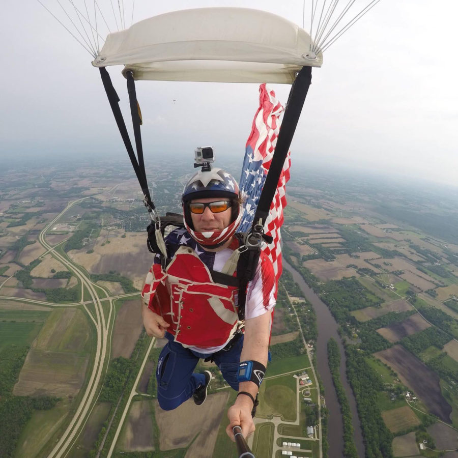 Skydiving Instructor Dan Schultz takes a selfie