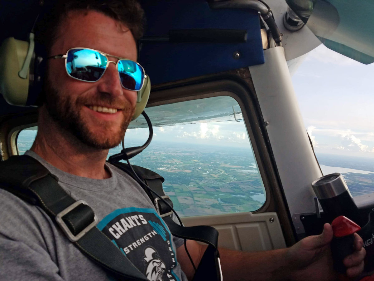 Skydiving pilot Ryan Daly flying over Wisconsin.