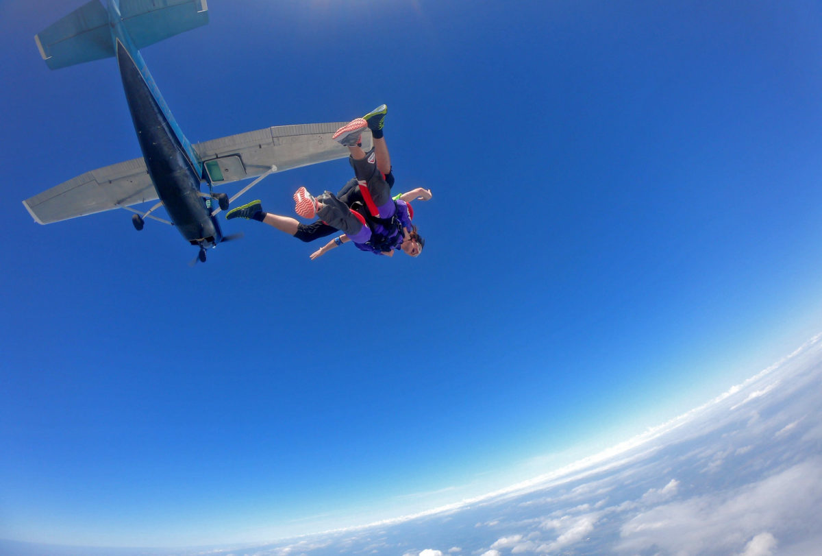 First Time Tandem Skydiver exiting a plane at Wisconsin Skydiving Center